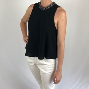 ASTR black blouse with jeweled neck
